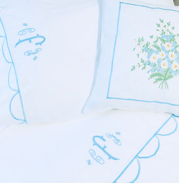 monogrammed bed sheets with scallops