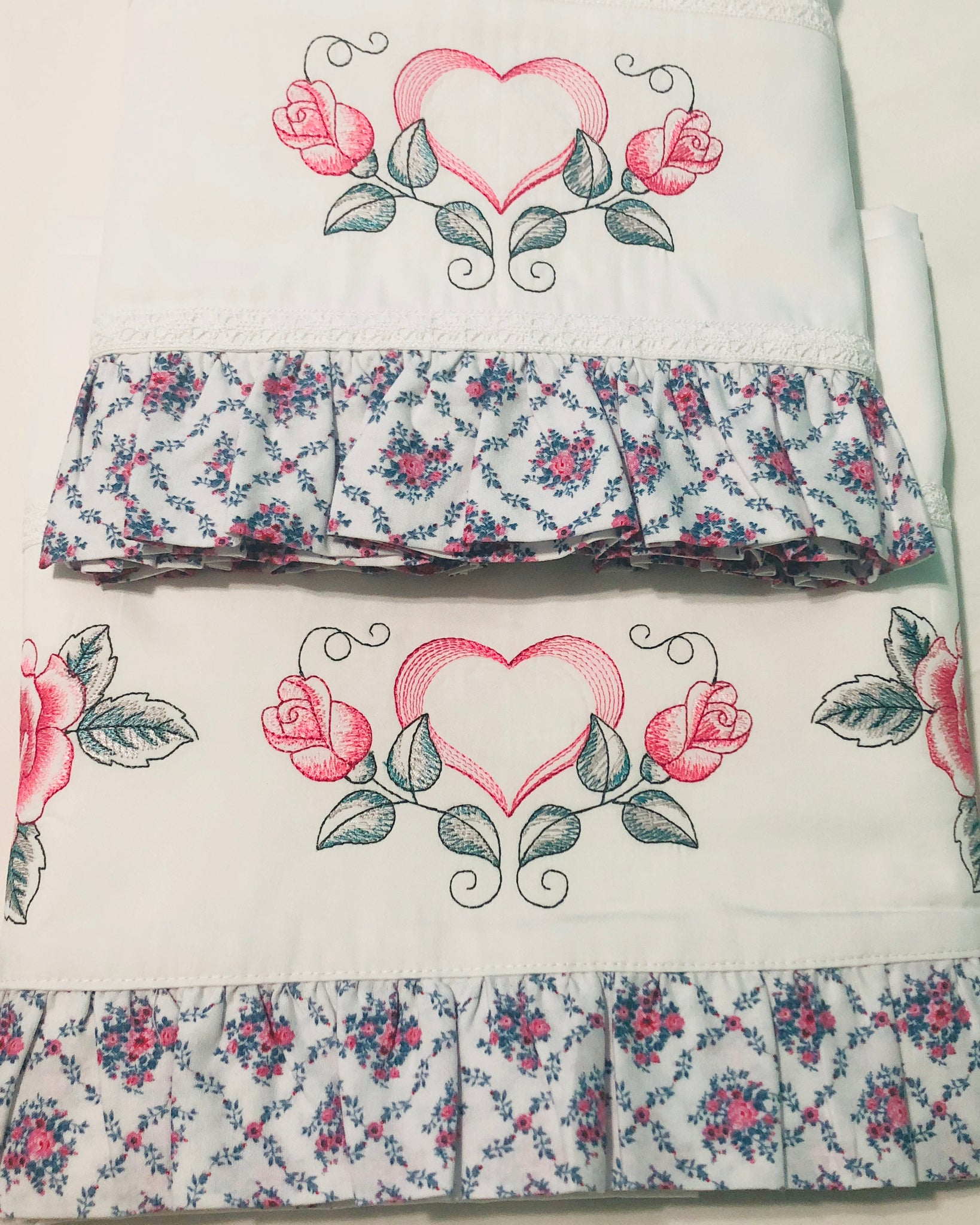 Vintage Roses Sheet Set and Embroidered premium white bed sheets