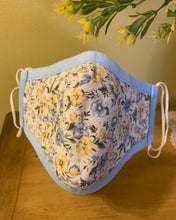 Load image into Gallery viewer, Monogrammed Blue Canvas Face Mask With Floral print reverse