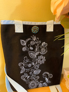 Black Canvas Bag Embroidered With Mehendi Design