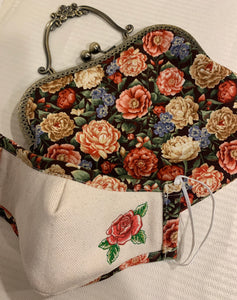 Embroidered Face Mask With Elegant Floral Reverse