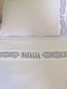 embroidered bed sheets