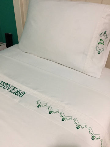 personalized bed sheet set embroidered with a lace floral design