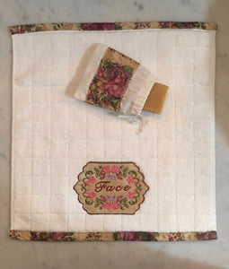 embroidered washcloth with matching soap