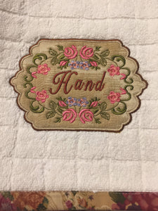 hand towel embroidered with vintage design and applique