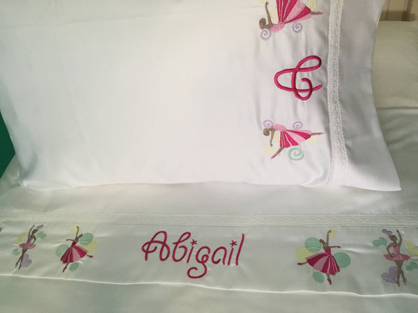 embroidered bed sheet set with ballerinas