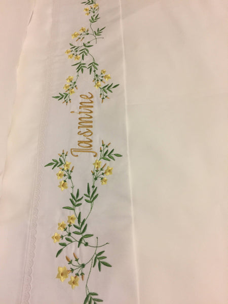 embroidered jasmines bed sheets