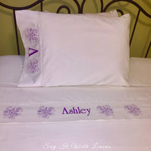 Load image into Gallery viewer, custom bed sheet set personalized with name