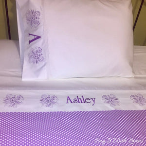 custom made bed sheet set with floral deco and personalized