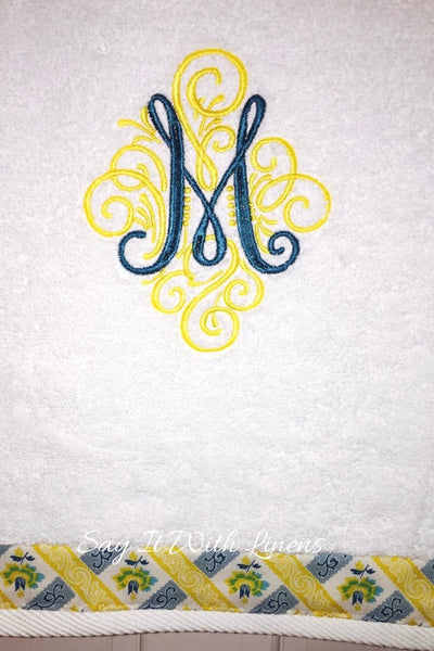 Summer Teal Monogram Towels