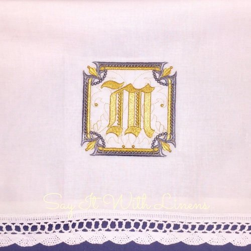 monogram guest towe with scallped lace