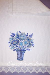 blue embroidery fingertip towels