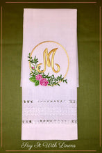 Load image into Gallery viewer, guest towel with delicate drawn-work stitches an monogrammed