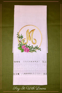 guest towel with delicate drawn-work stitches an monogrammed