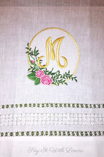 Load image into Gallery viewer, monogrammed linen guest towel