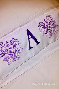 monogrammed pillow case with a floral deco