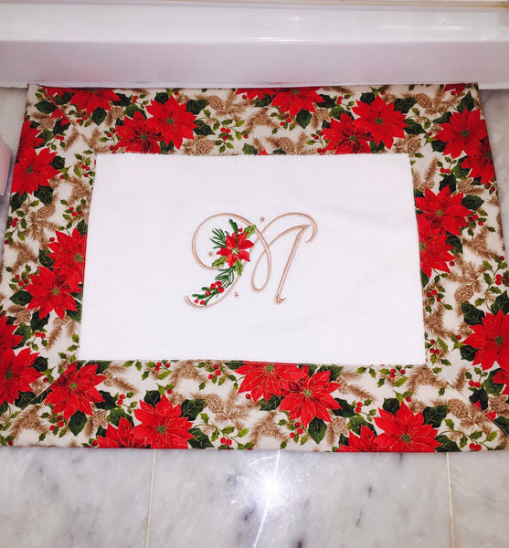 Poinsettia Christmas Monogramm Bath Mat/bath mat/ christmas bath mat/ monogrammed bath mat/ christmas presents/ personalized bath mat