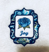Load image into Gallery viewer, wash towel embroidered with word joy