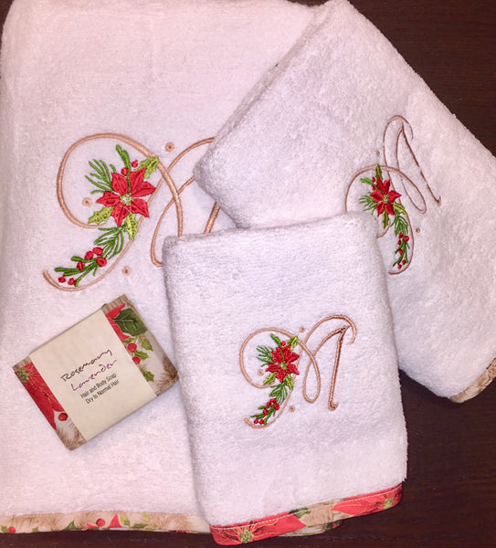 Poinsettia Monogrammed Christmas Towels