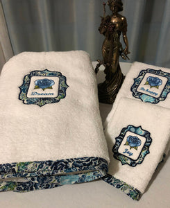bath towel set with inspirational words embroidered on them