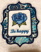 Load image into Gallery viewer, hand towel embroidered with words be happy