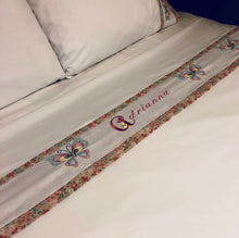 Load image into Gallery viewer, custom bed sheets with butterflies and personalized