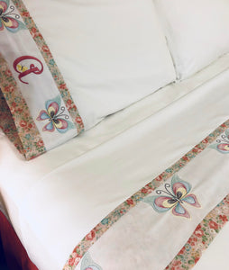 custom queen bed sheets embroidered with butterflies and personalized