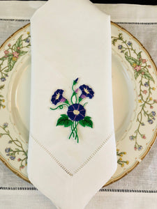 custom embroidered linen dinner napkin