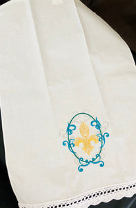 fleur de lis embroidered guest towel with scalloped lace