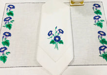 Load image into Gallery viewer, linen placemat and linen dinner napkins embroidered with purple morning glory flowers