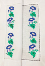 Load image into Gallery viewer, linen placemat embroidered with morning glory flower design