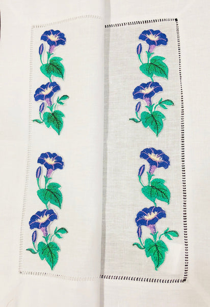 linen placemat embroidered with morning glory flower design