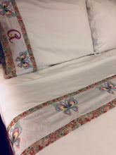 Load image into Gallery viewer, personalized bed sheet set and embroidered with butterflies