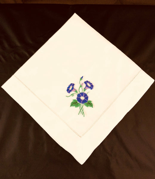 custom embroidered linen dinner napkins with morning glory flower design