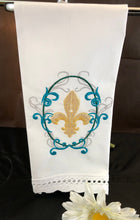Load image into Gallery viewer, embroidered fleur de lis guest towel