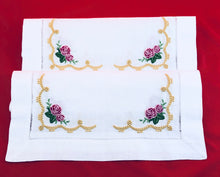 Load image into Gallery viewer, linens embroidered placemats with heirloom and roses design