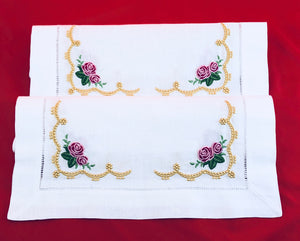 linens embroidered placemats with heirloom and roses design