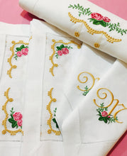 Load image into Gallery viewer, collection of embroidered table linens