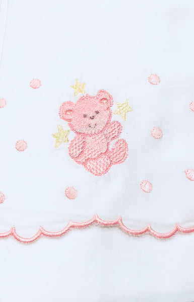 baby girl crib sheets embroidered with bear design