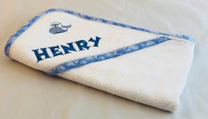 personalized baby towel with whale design