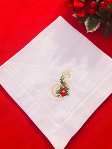 Linen dinner napkin personalized with Christmas monogram