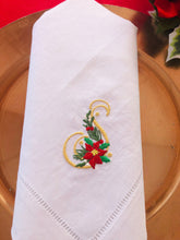Load image into Gallery viewer, Christmas dinner napkin monogrammed and embroidered with poinsettia design