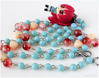 Puella Magi Sakura Figure Necklace, Teal, Salmon Pink, Magical Girl, Kawaii Jewelry