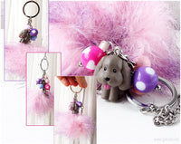 YOI Makkachin Kawaii Bag Charm with Pink Pom Pom, Decora, Harajuku Style, Accessories