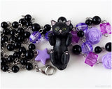 Black Cat Necklace and Keychain Set, Kawaii Jewelry, Cute Gifts, Pastel Goth, Gothic Jewelry
