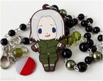Hetalia Poland Necklace, Beaded Rosary Chain in Silver - Anime Jewelry, APH