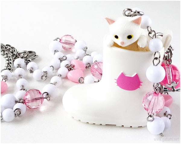 White Cat Necklace and Keychain Set, Cat Lovers, Kawaii Jewelry, Gifts for Girls