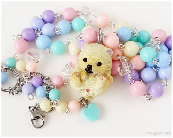 Kawaii Pastel Necklace, Pomeranian Dog Pendant, Beaded Rosary Chain - Street Fashion, Fairy Kei