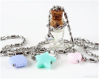 Tiny Glass Bottle Charm Necklace, Summer Jewelry for Women,  Pastel Kei, Harajuku