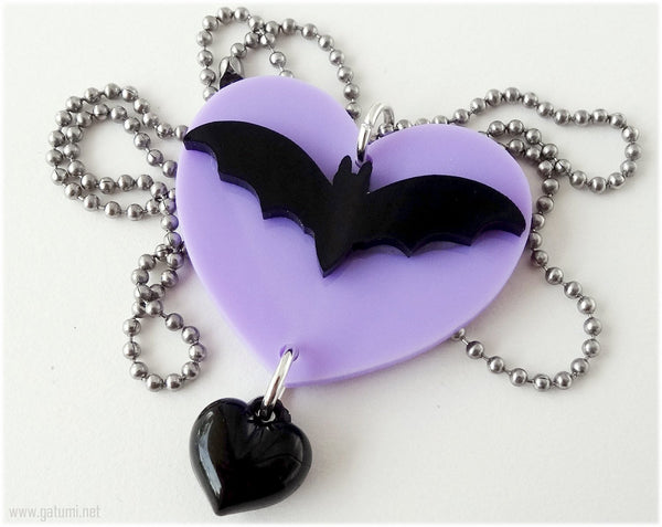 Acrylic Bat Pendant, Purple Heart Charm, Stainless Steel Ball Chain - Pastel Goth, Gothic Lolita